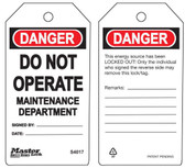 Master Lock S4017 Do Not Operate Maintenance Department Tag