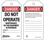 Master Lock S4018 Do Not Operate Maintenance on Equipment in Progress Tag