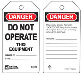 Master Lock S4022 Do Not Operate This Equipment Tag