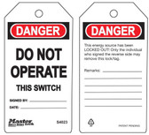 Master Lock S4023 Do Not Operate This Switch Tag