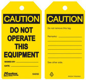 Master Lock S4050 Yellow Caution Do Not Operate Tag