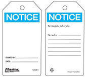 Master Lock S4061 Notice blank - Safety Tag