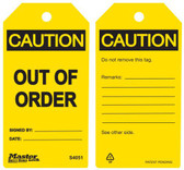 Master Lock S4051 Out Of Order Caution Tag