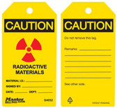 Master Lock S4052 Radioactive Materials Caution Tag