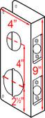 """Don-jo 154 CW Wrap Around 4"""" x 9"""" w/ 2-3/8"""" Backset"""