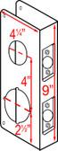 """Don-jo 484 CW Wrap Around 4-1/4"""" x 9"""" w/ 2-3/4"""" Backset"""