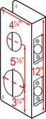 """Don-jo 258 CW Wrap Around 4-1/4"""" x 12"""" w/ 2 3/4"""" Backset"""