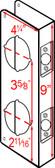 """Don-jo 481 CW Wrap Around 4-1/4"""" x 9"""" w/ 2-3/4"""" Backset"""