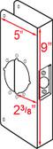 """Don-jo 21 W Wrap Around 5"""" x 9"""" w/ 2-3/8"""" Backset"""