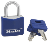 Master Lock No.132DCM - 1-3/16in (30mm) Wide Covered Solid Body Padlock; Blue