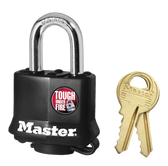 Master Lock No.311 - 1-9/16in (40mm) Wide Covered Laminated Steel Pin Tumbler Padlock, Black