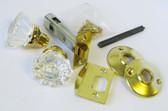 "Crystal Design Tubular Latchset, Bright Brass - 2 3/8"" backset"