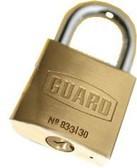 "Guard Brass Padlock 1-¼""(30mm) BODY 3/4""SHACKLE"