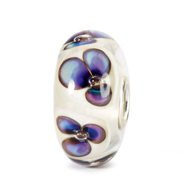 Ivory Violets Glass Trollbeads