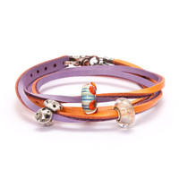 Leather Bracelet Pumpkin/Grape