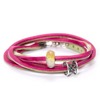 Leather Bracelet Cherry & Sage Green