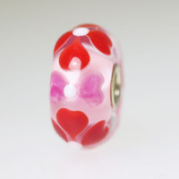 Pink Bead With Red Hearts