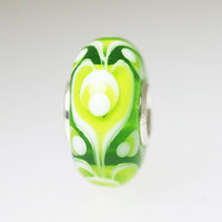 Lime Green Hearts Unique Bead