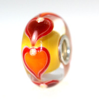 Yellow Bead With Orange Hearts