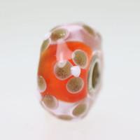 Orange and Glitter Flower Bead