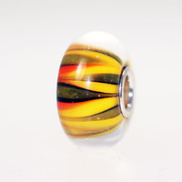 Orange Green Stripe Bead