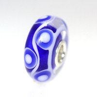 Blue Base UniqueTrollbeads with White Circles