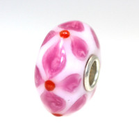 White Unique Trollbead With Pink Designs.