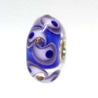Blue Glass Unique Trollbead with glitter