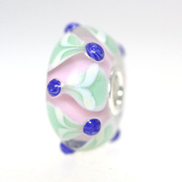 Pink and Green glass unique Trollbead