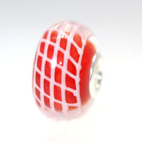 Red Unique Bead With White Lines.