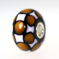 Brown, white and black bead