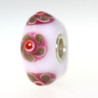 White Bead With Pink Medallions