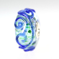 Blue Unique Ornament Bead