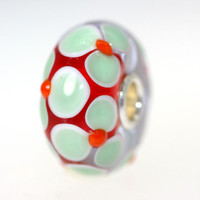 Light Green and Red Flower Bead
