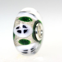 Green with White And Black Bead