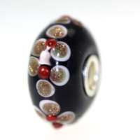 Opaque Black Bead with Glitter