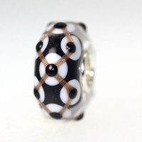 Black & WHite Bead With Gold Designs
