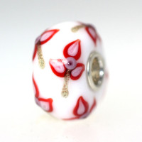 White bead With Red and Gold