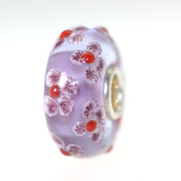 Lavender Bead With Flowers