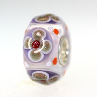 Purple Bead With Glitter Flowers