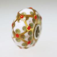 White & Glitter Clover Unique Bead