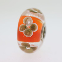 Orange & Glitter Flower Bead