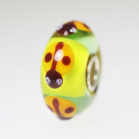 Lime Green Bead With Ladybugs