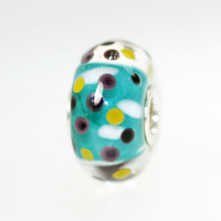 Rich Aqua Polka Dot Bead