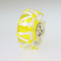 Bright White and Yellow Unique Bead