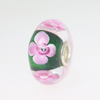 Pink Flowers On Green Unique Bead