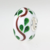 Opaque White Green Leaf Design Bead