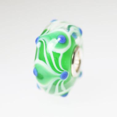 Green Unique Bead Blue Dots
