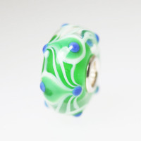 Green Unique Bead Blue Dots