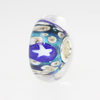 Aqua Bead With Stars